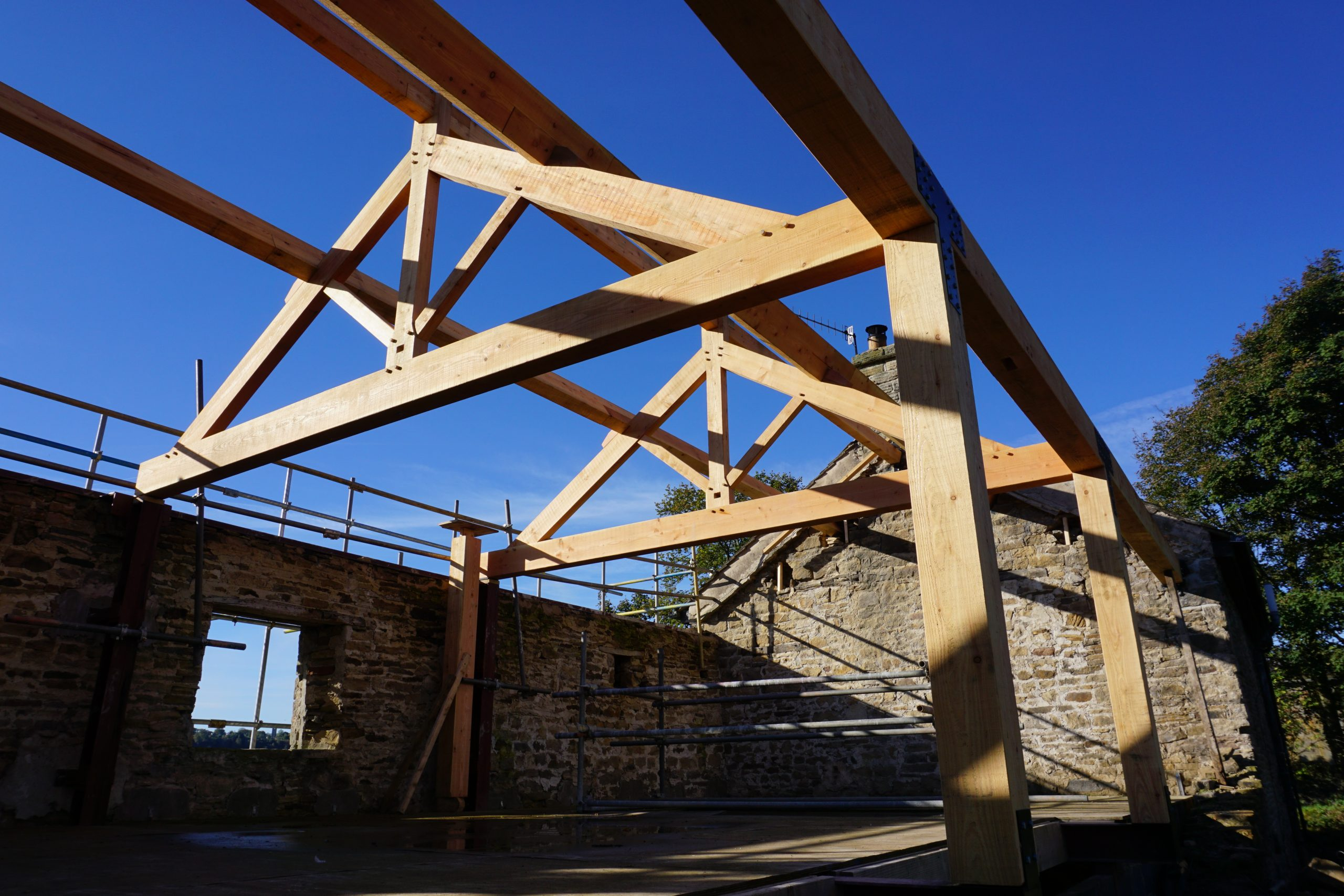 King Post Trusses and Frame in Douglas Fir